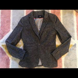 H&M tweed grey brown blazer jacket xs